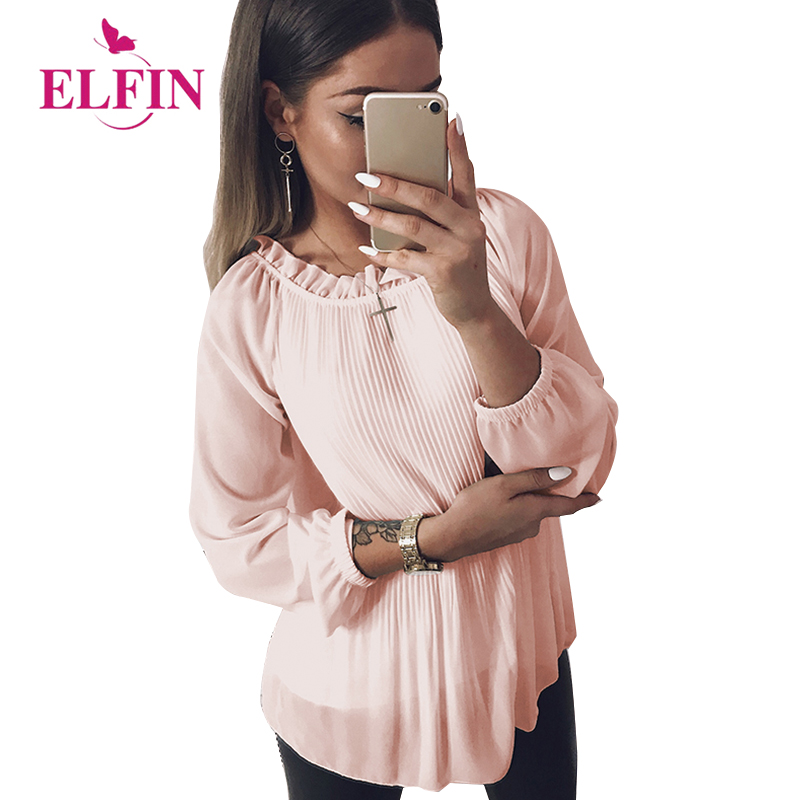 Women Sexy Chiffon Blouse Long Sleeve Ruffle Loose Blouses Shirts Blusas Tops For Women WS5364R