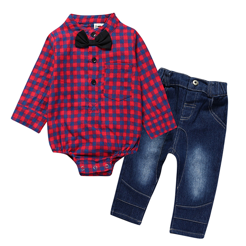 Autumn Baby Boy Clothes Sets 2pcs Newborn Boys Girls Clothing Set Long Sleeve Plaid Shirt+Jeans Fashion Toddler Clothes Suits