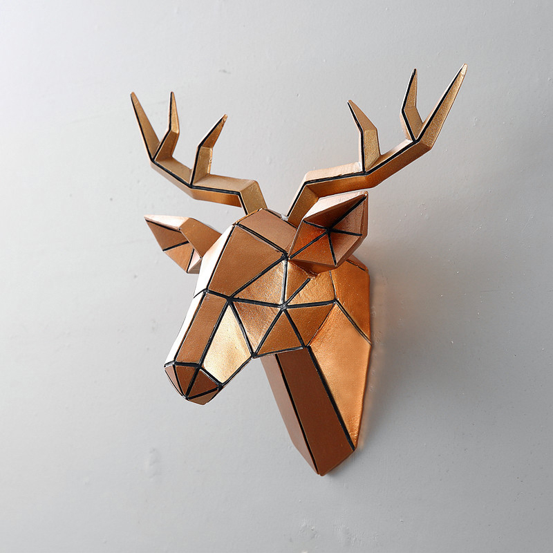 Us 45 49 30 Off American Creative Simulation Deer Head Wall Mounted Living Room Animal Decoration Pendant Retro Resin In