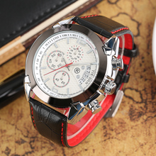 TIEDAN Men Watches 2017 Luxury Brand Outdoor Fashion Men's Quartz Wristwatch Date Chronograph Dial Genuine Leather Band Gifts