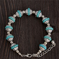 Free Shipping Bohemia Style Adjustable Bangle Bracelets Turquoise Bead Chain Bracelets Women's Jewelry 26cm TL105