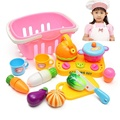 13Pcs/set Reusable Children Role Playing Plastic Fruit Vegetable Food With Basket Cutting Set Toys Pretend Kitchen Food Toys