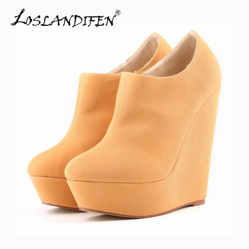 df189f3a1 LOSLANDIFEN Mulheres Ankle Boots Botas de Inverno Nova Moda Outono Sapatos  de Salto Alto Sapatos de Plataforma Bota de Camurça Feminino 391-5SUEDE