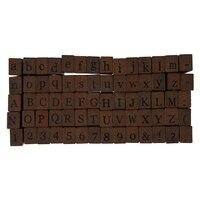 Hot Pack Of 70pcs Rubber Stamps Set Vintage Wooden Box Case Alphabet Letters Number Craft No