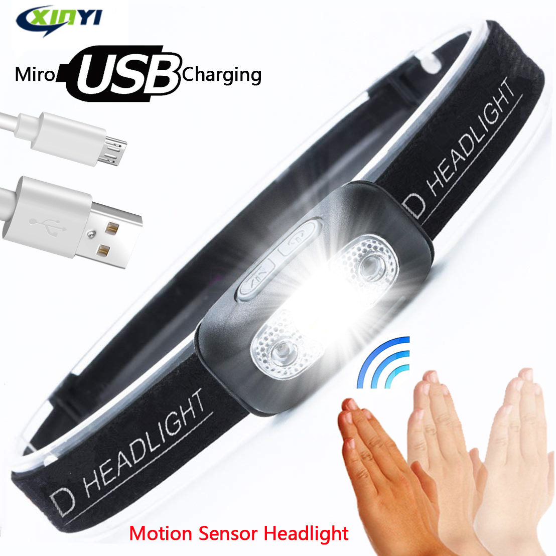 10000Lm Mini Rechargeable LED Headlamp Body Motion Sensor Headlight Camping Flashlight Head Light Torch Lamp With USB