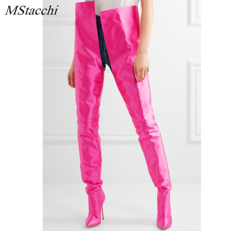 Mstacchi Woman Extreme Long Waist High Boots Fluorescence Color Stretch Satin Thin High Heels Pointed Toe Stage Long Boots Shoes high stretch u contour pouch long johns