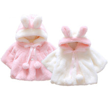 купить 0-4Y Newborn Infant Kids Baby Girls Winter Fur Coat Cloak Bunny Ear Hooded Coat Warm Jacket Snowsuits Outwear Outfits Clothes дешево