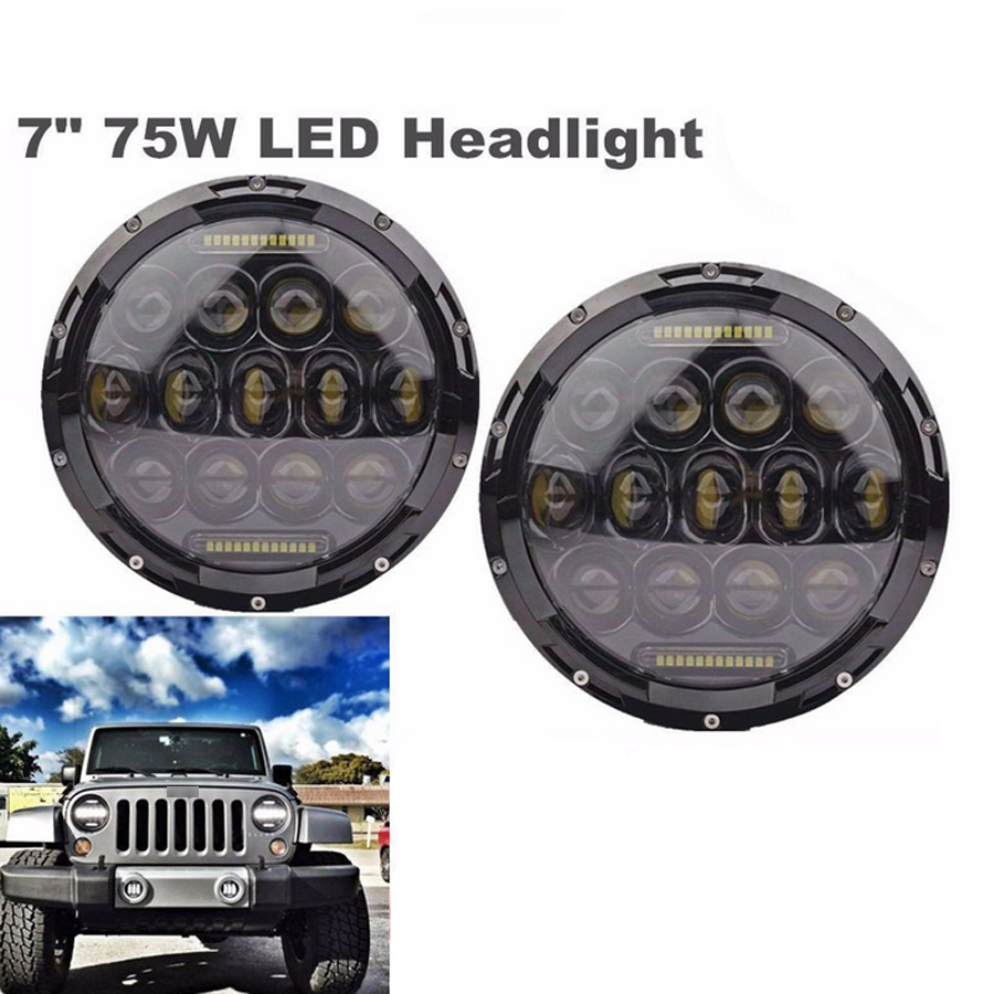 Headlight For JEEP Wrangler White LED Light 75W Hi/Low Beam Car Light Source LED Bulb Super Bright Lamp Free Shipping 2PCS/Pair newborn infant baby romper cute rabbit new born jumpsuit clothing girl boy baby bear clothes toddler romper costumes