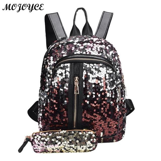 c6deb177f0 2pcs/1pc New Sequins Backpack New Teenage Girls Fashion Bling Rucksack  Students School Bag with Pencil Case Clutch Mochilas