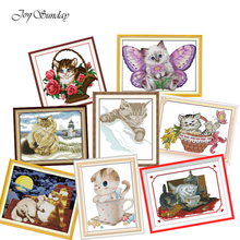 Joy Sunday Cross Stitch Kits Fat cats and the Lighthouse Needlework Embroidery kit Animals Patterns Printed Water Soluble Canvas