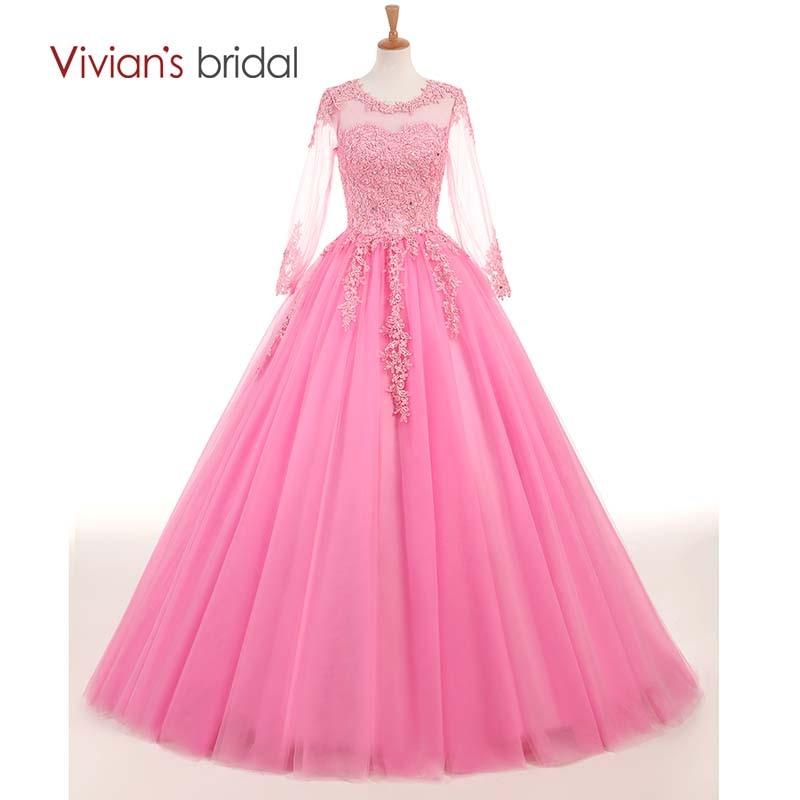 Koronkowa suknia ślubna dla nowożeńców Vivian z długimi rękawami różowa suknia ślubna długość podłogi