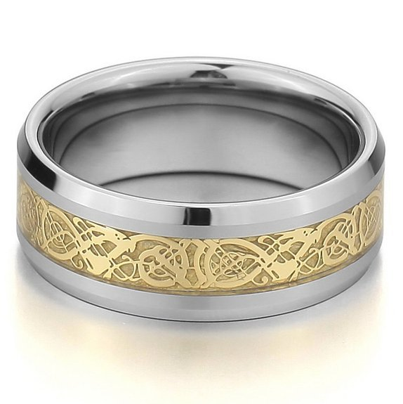 Elegant Graceful Ring Jewelry Silver gold Rings Tungsten Ring Polished Tungsten Rings Devised For Good Tasted Men