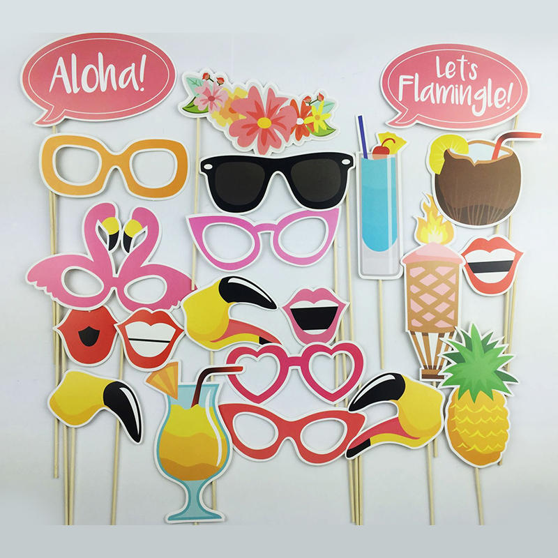 21Pcs/set New Photo Booth Props Flamingo Tropical Hawaiian Wedding Party Supplies Home Decor-in