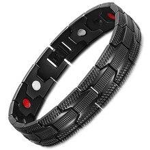 Stainless Steel Bracelet Black Mans Magnet Germanium Anion Far Infrared