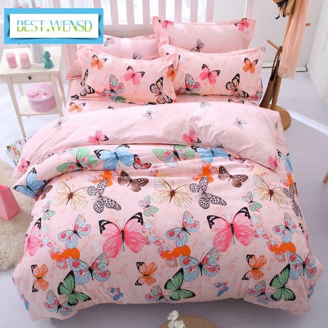bedclothes-Flamingo-Butterfly sheets Korean style Bedding king kid duvet cover sets dekbedovertre egyptian cottoon bed linen set