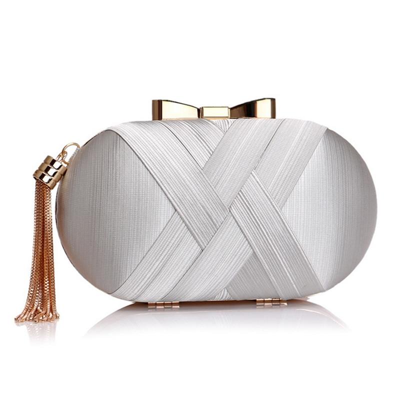 Golden Luxurious Tassel Women Evening Bags Chain Shoulder Handbags Purse Korean Bow Wedding Party Day Clutches Wallet