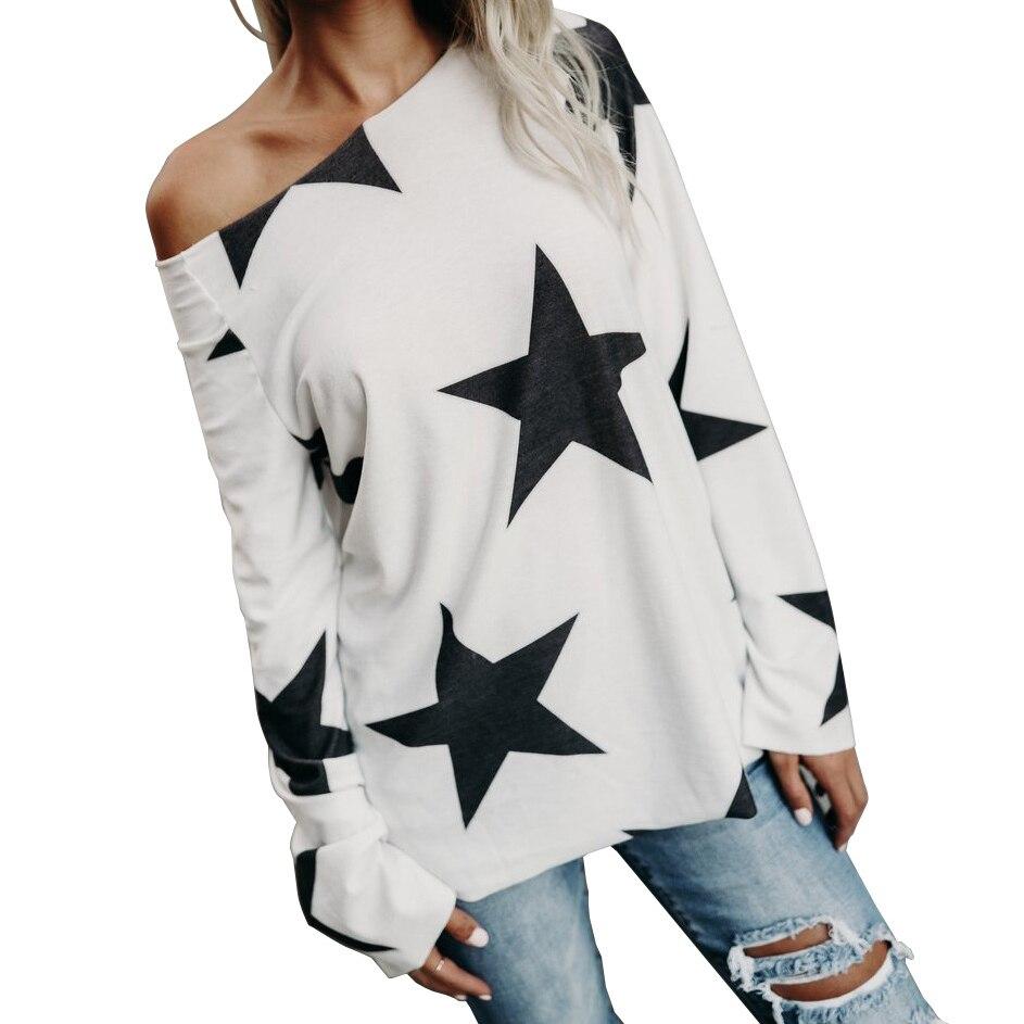 Winter Basic Tops Fashion Blusas Long Sleeve Casual Shirts O-neck Kawaii Print Stars Women Blouse Autumn Plus Size 2018 GV062 1