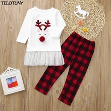Kids Baby Tops+Plaid Pants Christmas Clothes Set