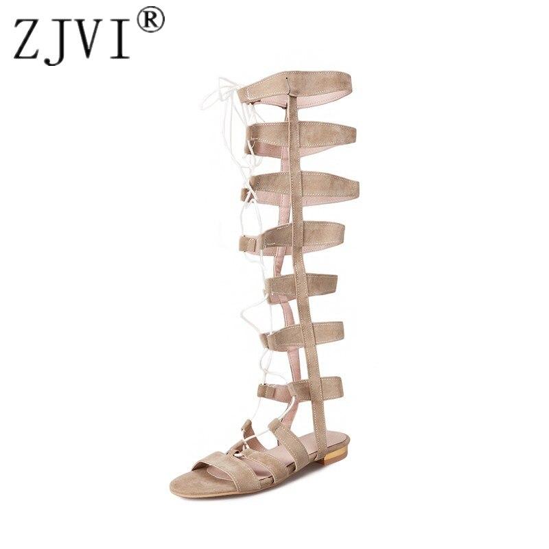 ZJVI womens knee high boots women low heels thigh high summer sandalias 2018 woman nubuck flats sandals ladies corss tied shoes