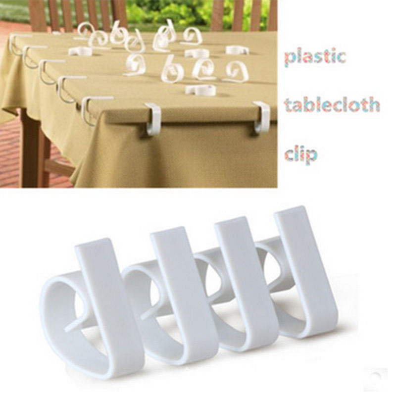 Simple 4PCS/lot Plastic Tablecloth Tables Useful Clips Holder Cloth Clamps Party Picnic Wedding Prom