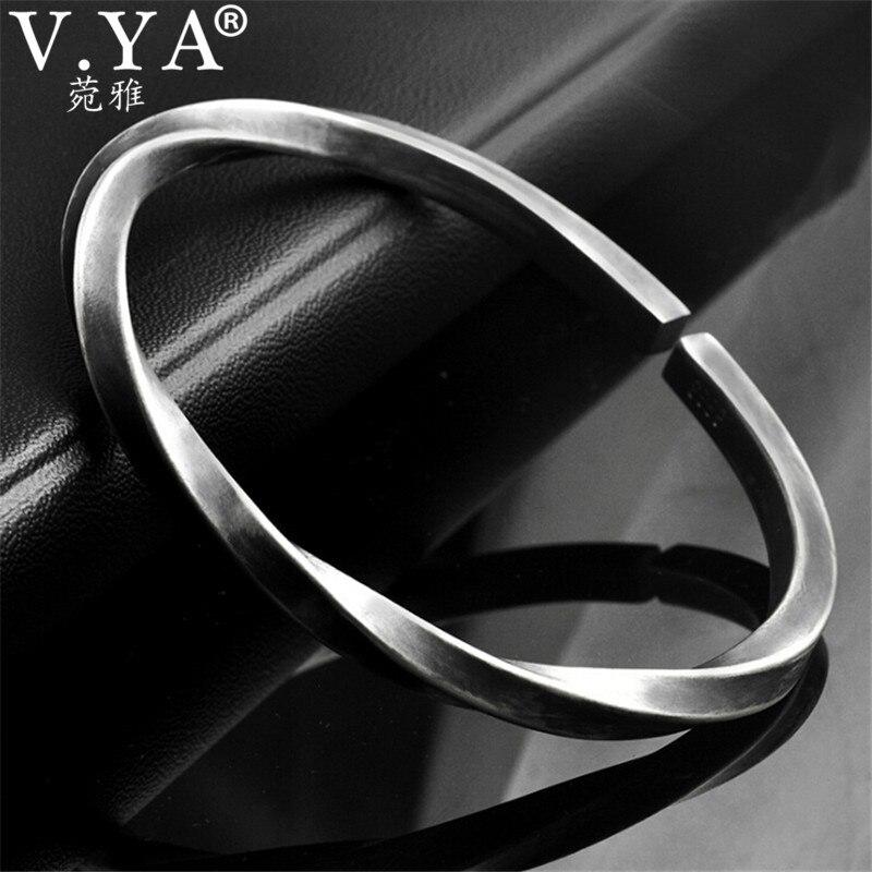 V. YA Punk Thai Silber Manschette Armreif für Männer Männlichen Mobius Gürtel Form 999 Sterling Silber Armbänder & Armreifen Einzigartige Geschenk-in Armreifen aus Schmuck und Accessoires bei  Gruppe 2