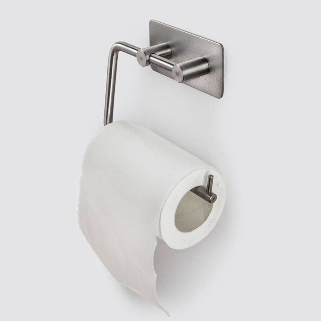 Self Adhesive Stainless Steel Toilet Paper Storage Holder Bathroom Toilet  Holder Paper Roll Shelf Stick On