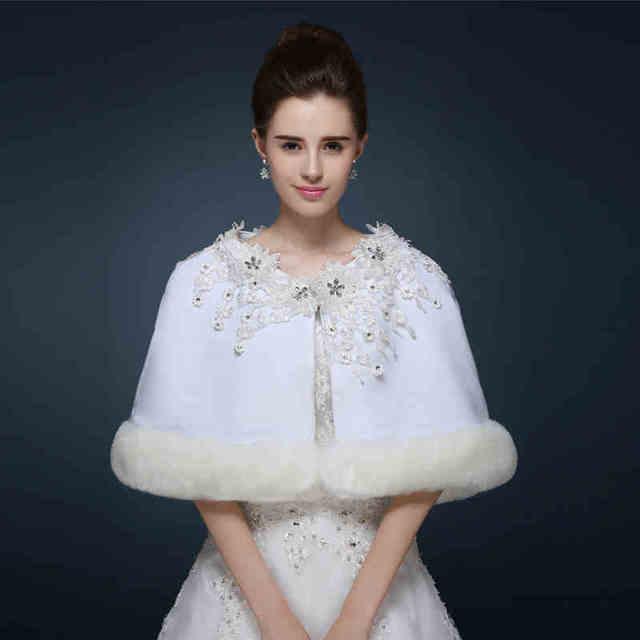 Novo Estilo de Festa À Noite Vestidos de Casamento Do Laço De Cristal Capes Manto Branco Ombro Envoltório da Pele Do Falso Casamento Nupcial Bolero Mariage 2017