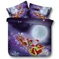 Juego de cama de Santa Claus Twin Full Queen Super Cal King Size cubrecama edredón funda de Navidad moto de nieve ciervo púrpura