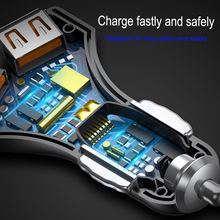 Baseus Quick Charge 3.0 Car Charger 5V3A QC3.0 Turbo Fast Charging Car-charger Dual USB Car Mobile Phone Charger For iPhone 8 7