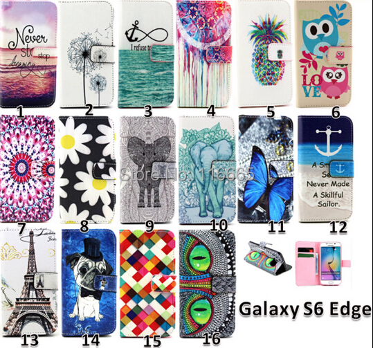 ebc5dd5cefc custom Flip cover card slot stand CUSTOMIZED Design Leather print wallet  case For samsung galaxy S6 S6 edge A5 A7 E5 E7 Z1 JI