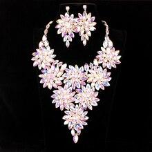 Nieuwe Luxe Big Crystal Verklaring Ketting Oorbellen Set Goud/Zilver Kleur Sieraden Sets Indian Mode Bruids Sieraden