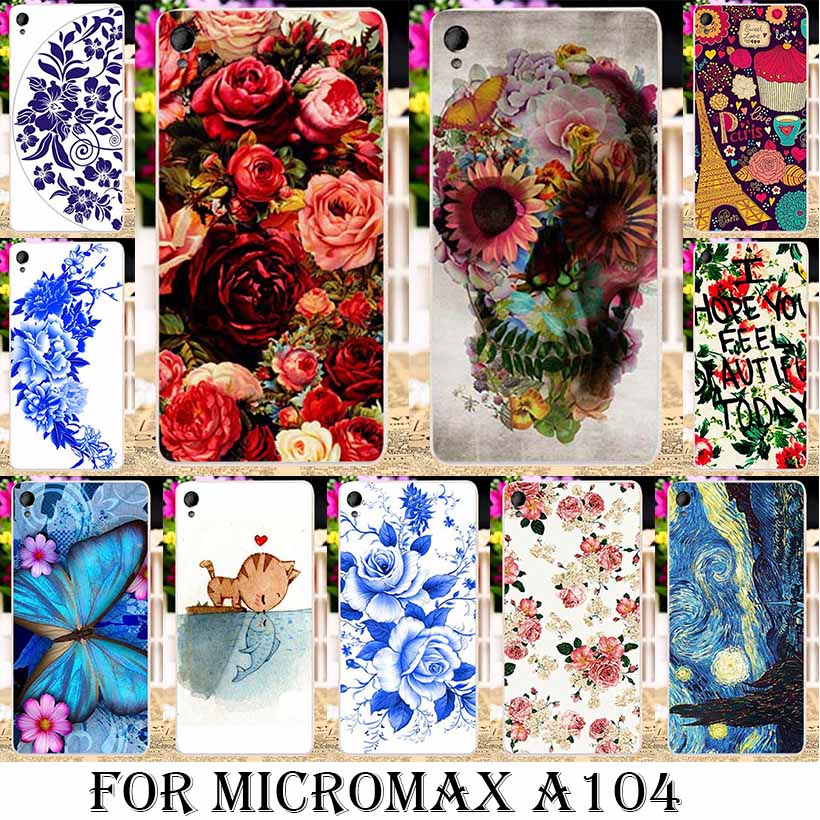 Silicone soft tpu cases Painting Phone Cases for Micromax A104 Canvas Fire 2 Fire2 4.5 INCH Cases Rose Peony Flowers Background