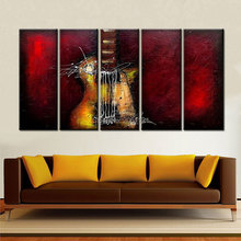 hand painted Modern Wall Painting art Home Huge Decoration Oil music guitar dark red canvas pictured