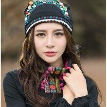 Cheshanf мексиканский стиль этнические винтажные черные синие красные банданы с бисером женская зимняя Оригинальная шапка в стиле хиппи Skullies