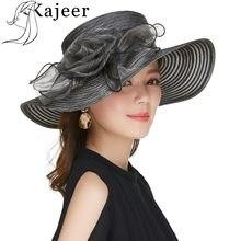 c9858c2c Church Hats For Women Kajeer Ladies Black Big Wide Brim UV Protection female  Flower Design Wedding Hats Race Party Church Caps