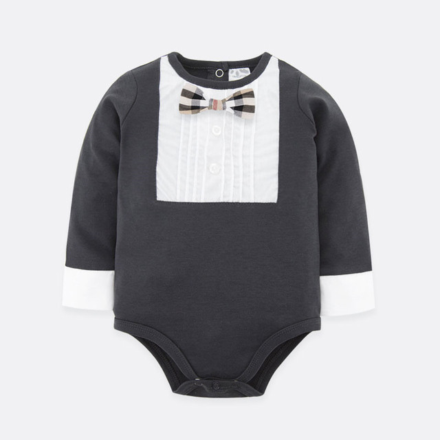 Hot Selling New Baby Bodysuits Boys Gentleman Style Jumpsuit Baby Boy Bow Tie Suit Two Types Dark Grey Color Baby Clothes
