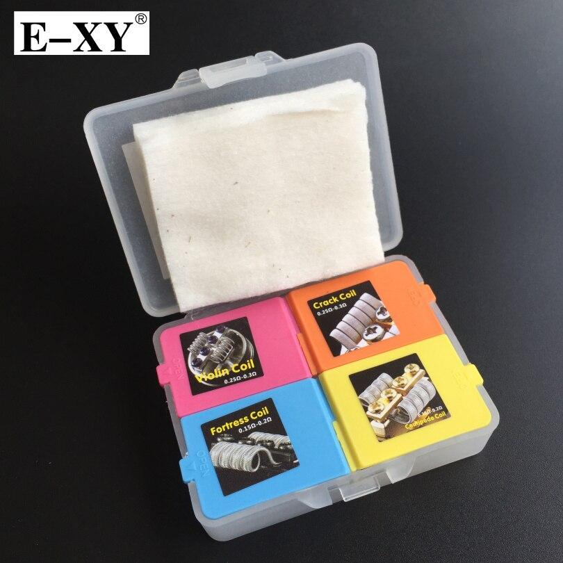 E-XY 4 IN 1 Draht Baumwolle Vorgefertigte Spulen Box kits festung Violine Tausendfüßler Riss Spule RDA RTA Zerstäuber Dampf Vape zubehör