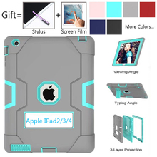 For Apple iPad2 iPad3 iPad4 Kids Safe Armor Shockproof Heavy Duty Silicon+PC Stand Back Case Cover For ipad 2 3 4 Tablet PC Capa
