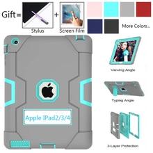 Voor Apple Ipad 2 Ipad 3 Ipad 4 Kinderen Veilig Armor Shockproof Heavy Duty Silicon + Pc Stand Back Case cover Voor Ipad 2 3 4 Tablet Pc Capa
