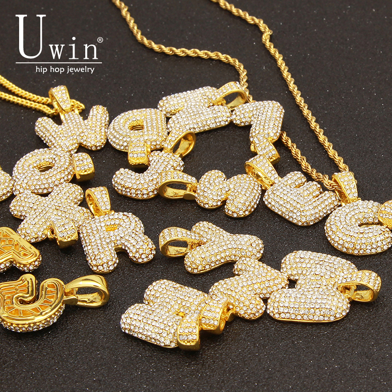 UWIN Custom Bubble Letters Name Pendant Iced out Gold Silver RoseGold Rhinestone Hip Hop Necklaces Jewelry Gift Drop Shipping