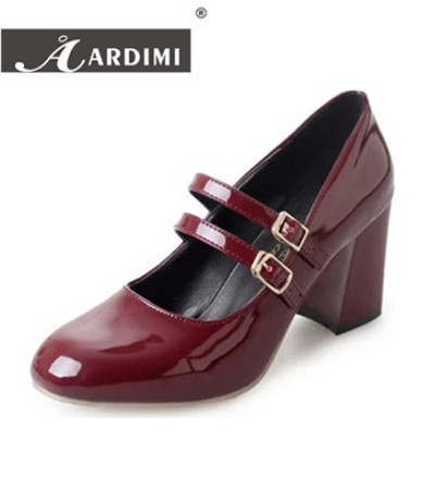 Classical Mary Janes shoes women oxford shoes autumn solid high heel shoes women pumps chaussure femme vinatge ladies mary janes