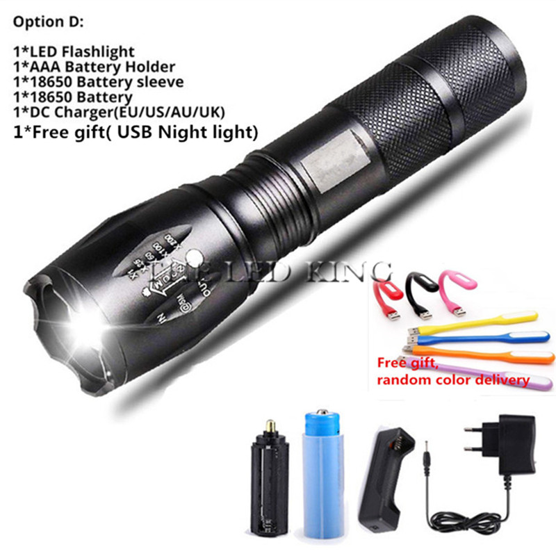 Hand Light Lamp 10000LM XM-L T6 L2 LED Flashlight Rechargeable Zoomable Torch