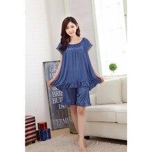 4ceb9e80f48c2 2019 جديد حار مثير الحرير الحرير قمصان النوم الصيف جديد المرأة منامة Feme  الجليد الحرير الإناث مثير الدانتيل قصيرة الأكمام المنز.