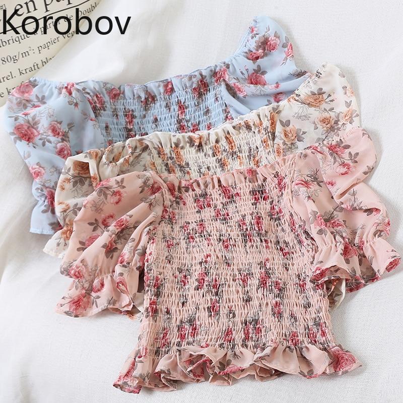 Korobov Korean Slash Neck Off Shoulder Female Shirt Vintage Flower Ruffles Summer Blouses Women Flare Sleeve Blusas Mujer 78320