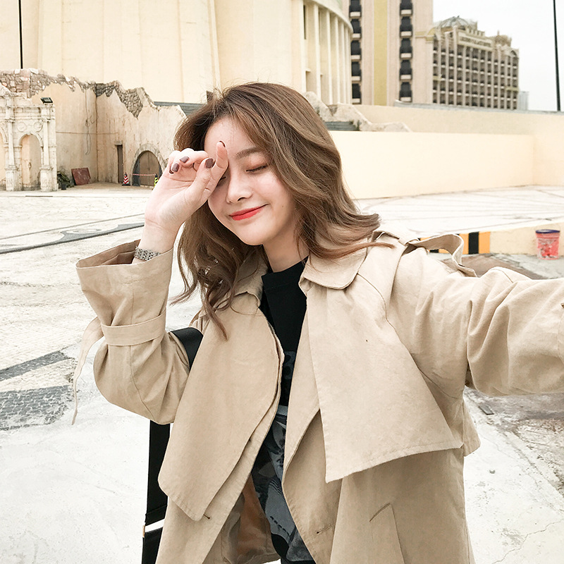 Spring And Autumn Women's New Leisure Khaki Windswear Short Style Hundred Sets Short Coat