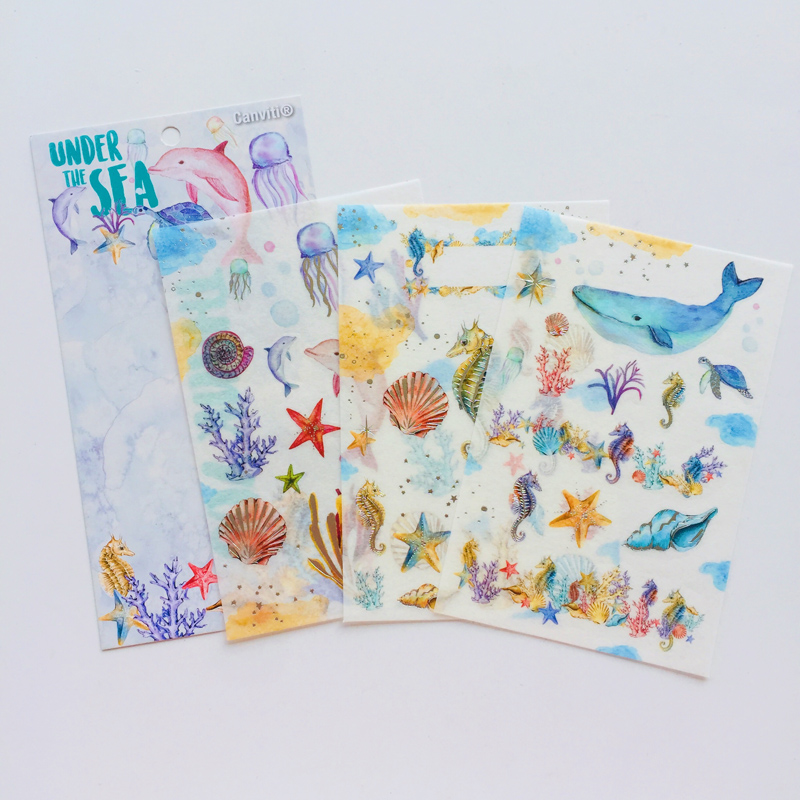 3 Sheets Fantistic Under Sea World Hot Stamping Washi Paper Decorative Stickers