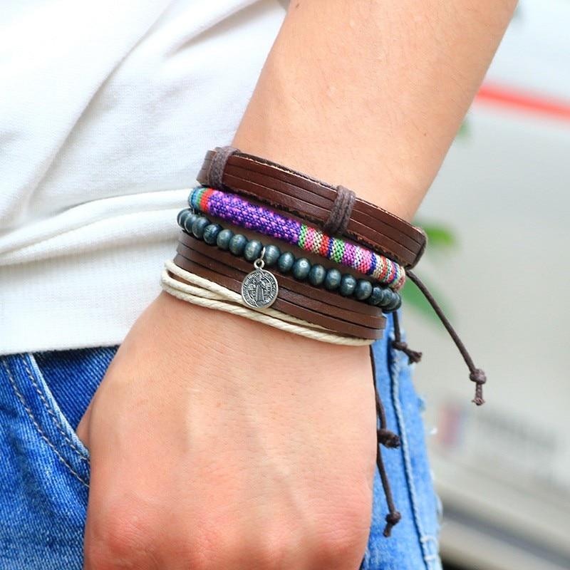 Punk Braided Adjustable Cuff Vintage Leather Bracelets