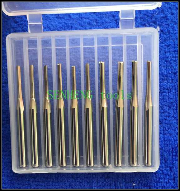 10 peças 3.175*2.0*12mm flauta dupla reta slot escultura ferramentas fresa cnc roteador bits acrílico pvc madeira plástico mdf