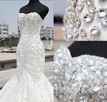 Свадебное платье Русалка без бретелек со стразами и бусинами