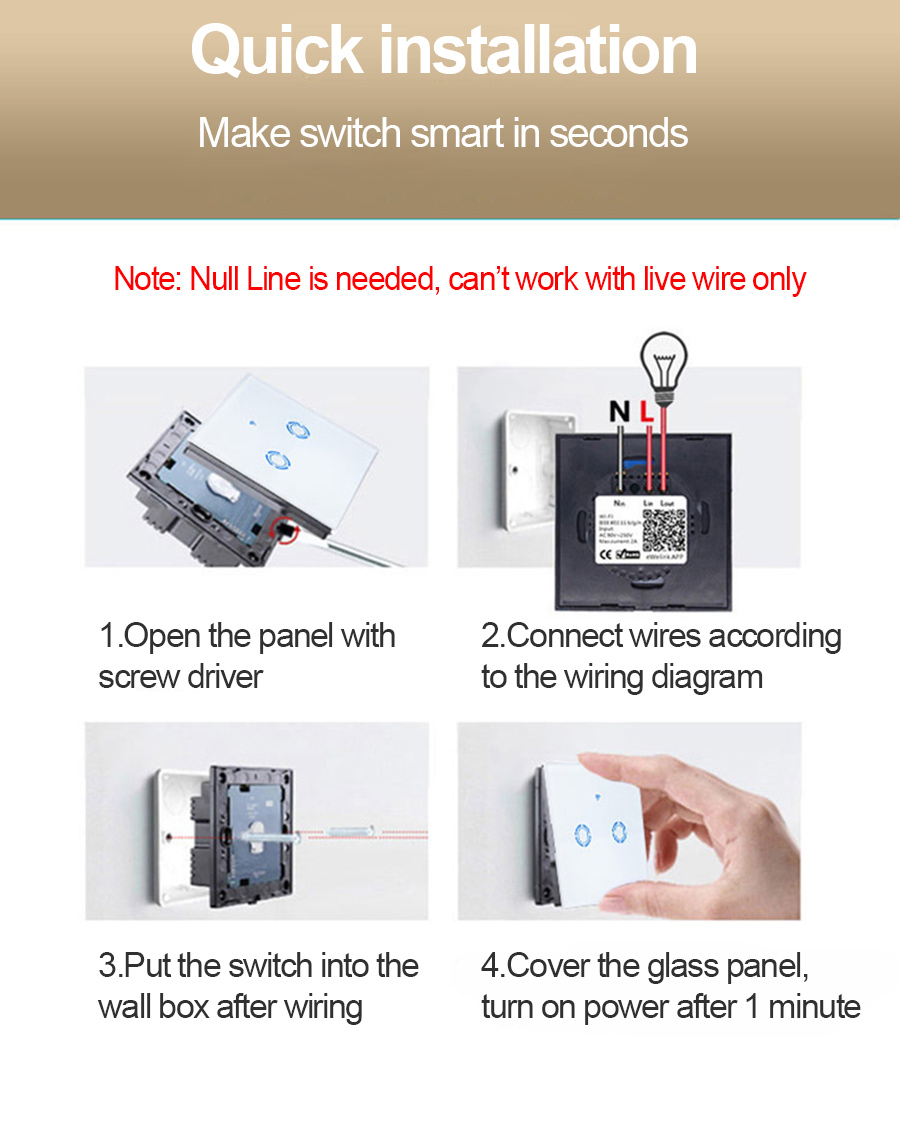 Wifi Switch Ejlink Smart Home Light Ewelink App Remote Wiring Diagram Control Glass Panel Eu Type 86x86mm